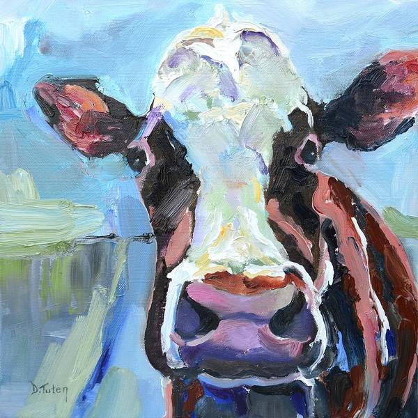 Painting - Peek-a-boo Cow Whimsical Cow Oil Painting by Donna Tuten