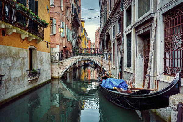 Photograph - Gondola Parked On Lonely Water Canal In Venice, Italy by Fine Art Photography Prints By Eduardo Accorinti
