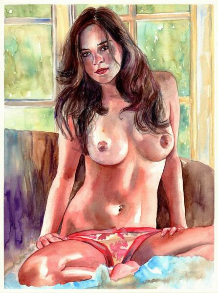 Wall Art - Painting - Isabella Nude Lady Portrait by Suzann Sines