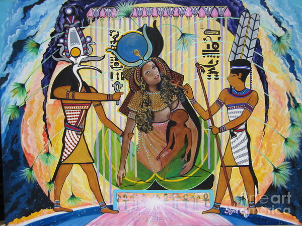 Painting - Blaa Kattproduksjoner     Presents Isis Giving Birth To Horus by Sigrid Tune