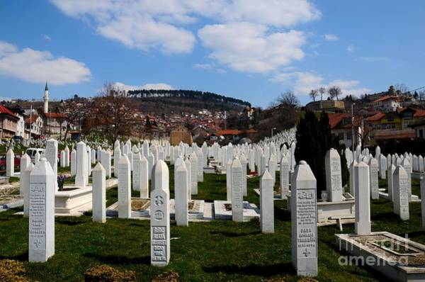 Photograph - Islamic Muslim Tombstones Of Bosnian Soldiers At Martyrs Memorial Cemetery Kovaci Sarajevo Bosnia by Imran Ahmed