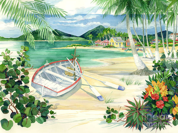 Tropical Plants Painting - Island Boat by Paul Brent