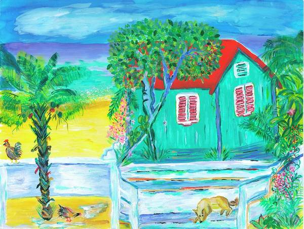 Island Wall Art - Painting - Island Dog's Porch by Bridget Weber