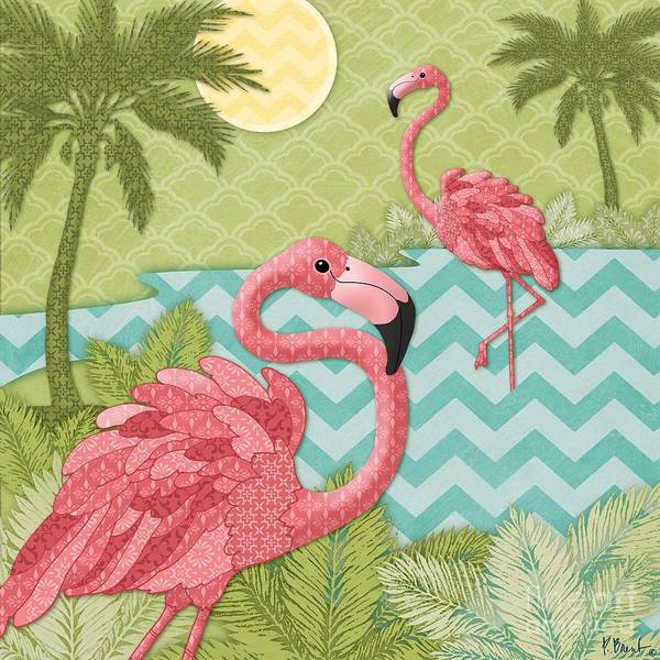 Flamingos Wall Art - Painting - Island Flaming I by Paul Brent