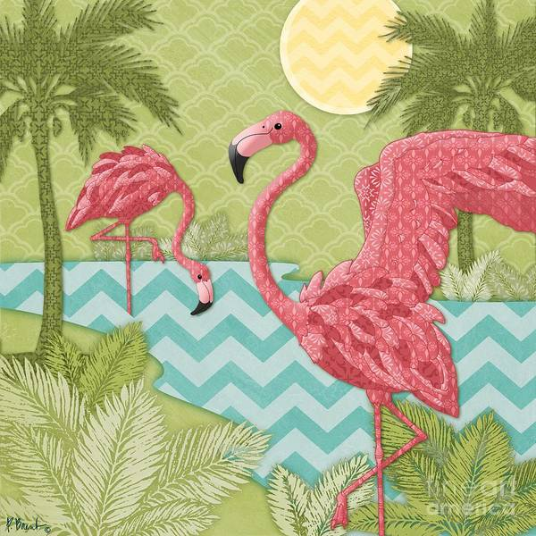 Pink Flamingo Wall Art - Painting - Island Flamingo II by Paul Brent