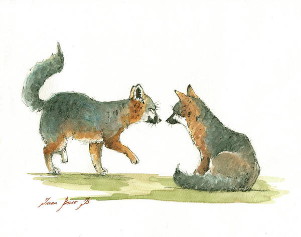 Wall Art - Painting - Island Foxes by Juan Bosco