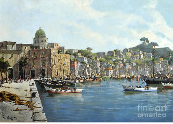 Island Of Procida - Italy- Harbor With Boats Art Print