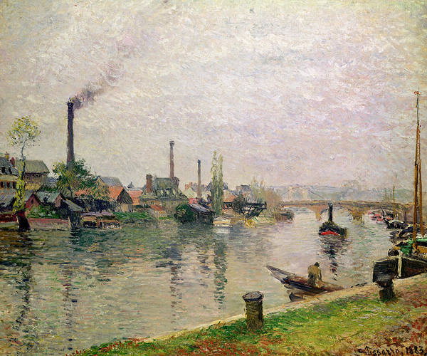 Oil Industry Painting - Island Of The Cross At Rouen by Camille Pissarro