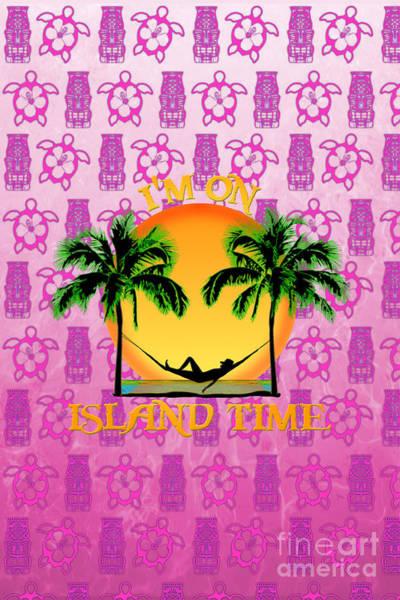 Bahamas Digital Art - Island Time Pink Tiki by Chris MacDonald