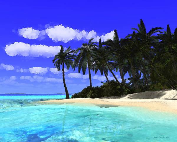 Digital Art - Island With Palm Trees by Judi Suni Hall