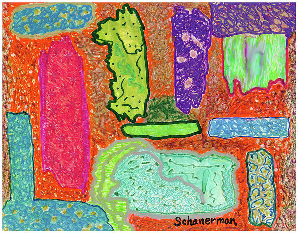Drawing - Islands Adrift In A Sea Of Vibrant Madness by Susan Schanerman