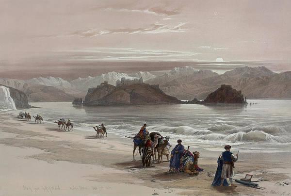 Painting - Isle Of Graia Gulf Of Akabah Arabia Petraea by David Roberts
