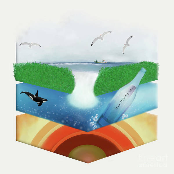 Save The Whales Wall Art - Digital Art - Isometric Island by Priscilla Wolfe