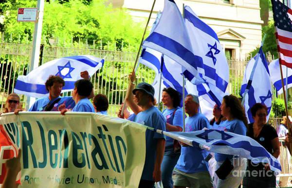 Shofar Wall Art - Photograph - Israel Flags People March Parade by Chuck Kuhn