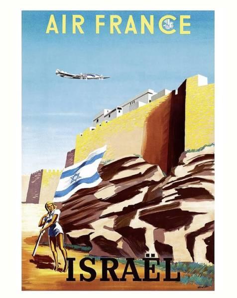 Israel Digital Art - Israel Walls Of Jerusalem Air France Vintage Airline Travel Poster by Retro Graphics