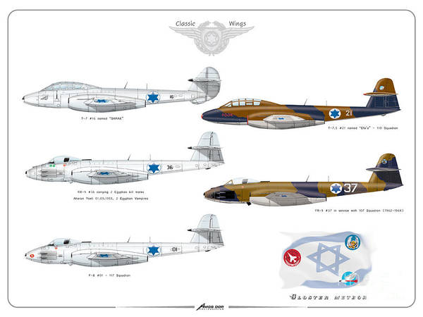 Digital Art - Israeli Air Force All Times Gloster Meteors by Amos Dor