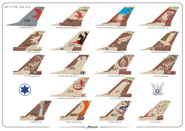 Drawing - Israeli Air Force F-16's Tail Art by Amos Dor