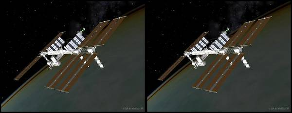 Stereoscopy Digital Art - Iss 2 - Gently Cross Your Eyes And Focus On The Middle Image by Brian Wallace