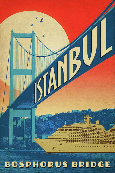 Cruiser Painting - Istanbul, Bosporus Bridge, Cruiser by Long Shot