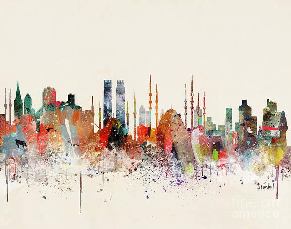 Istanbul Painting - Istanbul Skyline by Bri Buckley