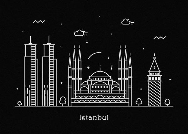 Turkiye Wall Art - Drawing - Istanbul Skyline Travel Poster by Inspirowl Design
