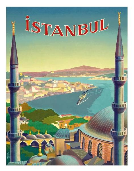 Turkey Digital Art - Istanbul Turkey 1939 World Travel Poster by Retro Graphics