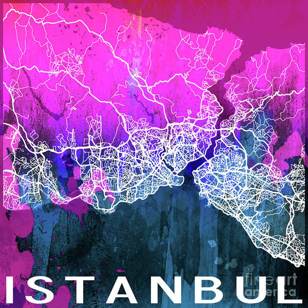 Europe Map Digital Art - Istanbul Watercolor by Delphimages Photo Creations