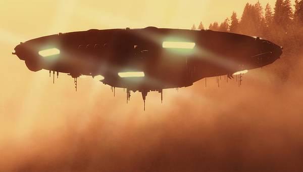 Ufo Digital Art - It Comes In The Mist By Raphael Terra by Raphael Terra