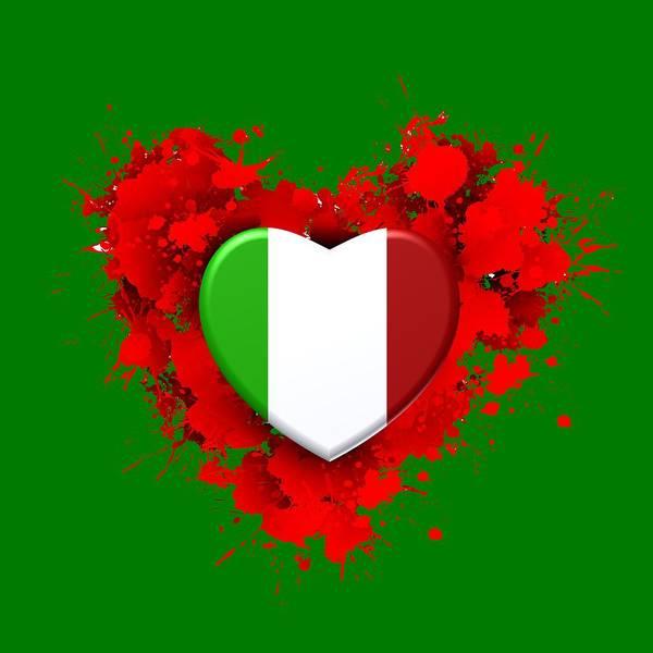 Digital Art - Itali Over Red Heart by Alberto RuiZ