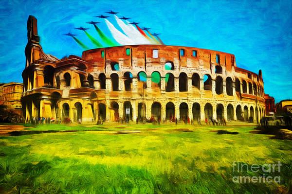 Wall Art - Photograph - Italian Aerobatics Team Over The Colosseum by Stefano Senise
