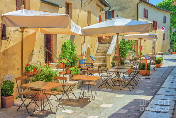 Narrow Street Painting - Tuscan Village by Delphimages Photo Creations