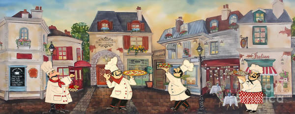 Mustache Painting - Italian Chefs-jp3041 by Jean Plout