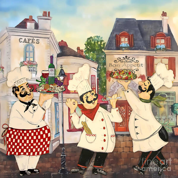 Mustache Painting - Italian Chefs-jp3042 by Jean Plout