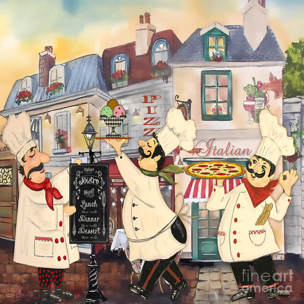 Mustache Painting - Italian Chefs-jp3043 by Jean Plout