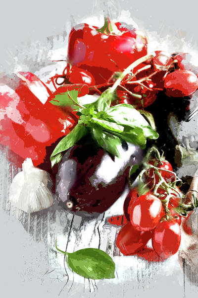 Preparation Painting - Italian Cooking by Elaine Plesser
