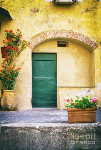 Photograph - Italian Facade With Geraniums by Silvia Ganora