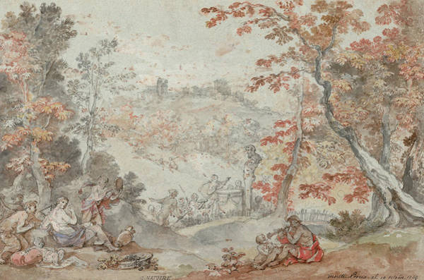 Painting - Italian Fall Landscape With Monte Porzio And An Offering To Pan by Charles-Joseph Natoire