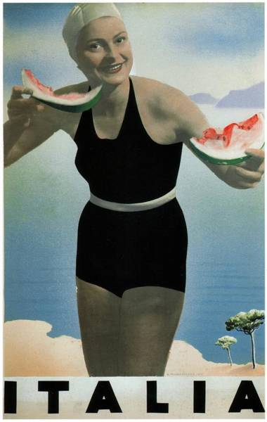 Kunst Painting - Italian Girl In A Beach In Black Swimwear Having Watermelon - Vintage Travel Poster by Studio Grafiikka