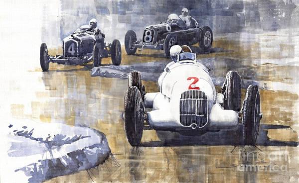 Retro Painting - Italian Gp 1934 Mb W25 Alfa Romeo P3 Maserati Tipo 34 by Yuriy Shevchuk