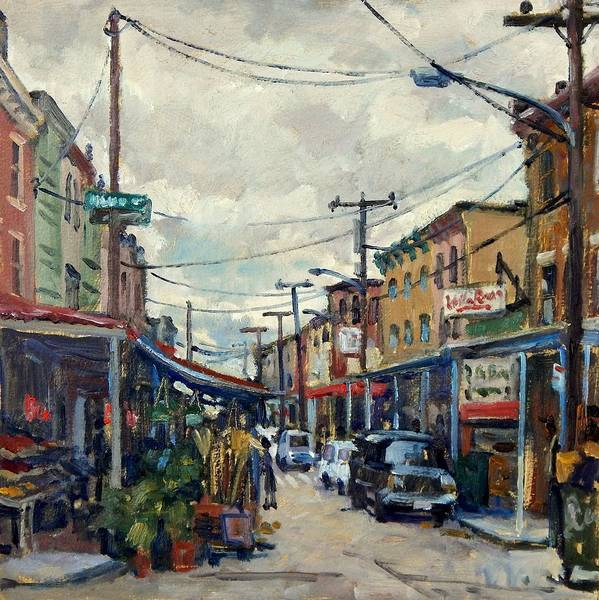 Painting - Italian Market Philadelphia Rainy by Thor Wickstrom