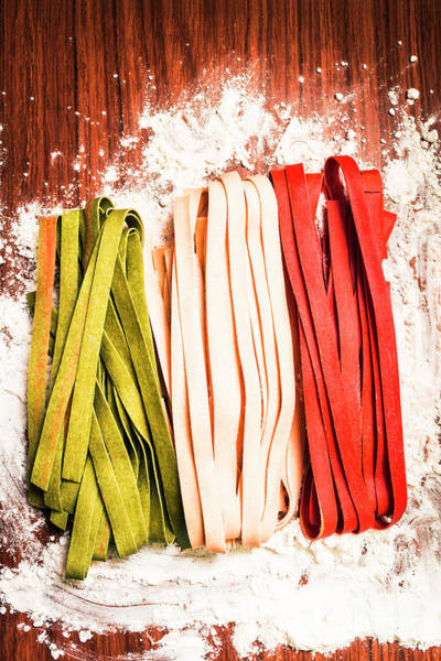 Italian Cuisine Photograph - Italian Pasta In National Flag On Flour by Jorgo Photography - Wall Art Gallery