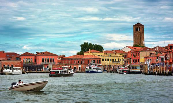 Photograph - Boats And Buildings On The Sea Near Venice, Italy by Fine Art Photography Prints By Eduardo Accorinti