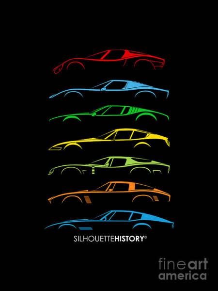 Wall Art - Digital Art - Italian Sports Cars 60s Silhouettehistory by Gabor Vida