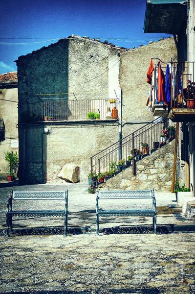 Photograph - Italian Square With Benches by Silvia Ganora