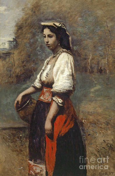 Wall Art - Painting - Italian Woman At The Well by Jean Baptiste Camille Corot