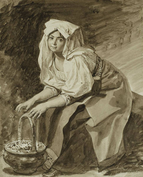 Drawing - Italian Woman Warming Her Hands by Karl Bryullov