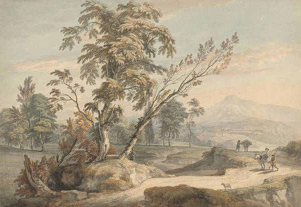 Painting - Italianate Landscape With Travellers No. 2 by Paul Sandby