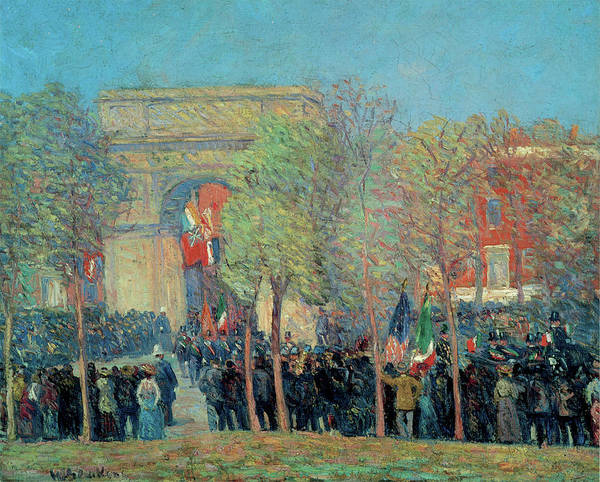 Photograph - Italo American Celebration, Washington Square by William Glackens