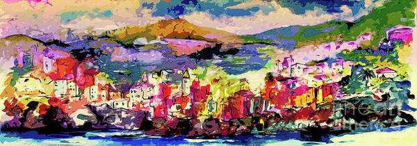 Mixed Media - Italy Cinque Terre Riomaggiore Evening Light Modern Abstract by Ginette Callaway