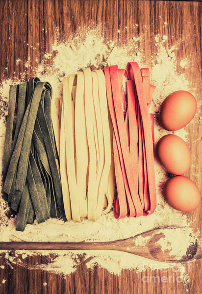 Italian Cuisine Photograph - Italy Flag Made In Retro Toned Pasta by Jorgo Photography - Wall Art Gallery